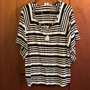 Cato Black and White Striped Blouse with Necklace!